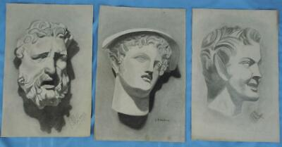 Lot of 3 Early 1900's Charcoal Portraits of Greek or Roman Busts Signed Oelkers