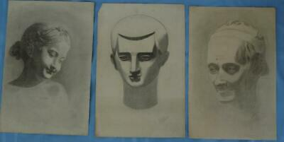 Lot 3 Early 1900's Charcoal Portraits of Greek or Roman Figures Signed Oelkers