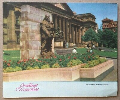 Vintage Greeting Card Public Library Melbourne Victoria Christmas Fifth Avenue