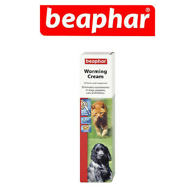 Beaphar Worming Cream Kills Roundworms Dogs Puppies Cats Kittens 18g Syringe