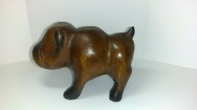Vintage Carved Wood Bulldog Folk Art Detailed 4 1/2 x 3 1/4