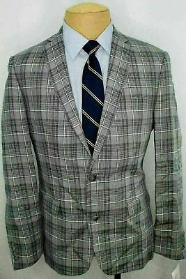 NWOT 40R Bar III Slim Fit Gray Plaid Dual Vent 100% Linen Sport Coat Blazer NO9