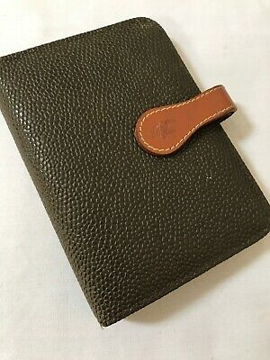 Organiser/Filofax-Mulberry Pocketbook-Taupe Scotchgrain & Cognac Leather-Beauty