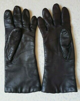 Women's Long 100% Genuine Soft Leather Insulated Gloves, Dark Brown Size 7.5