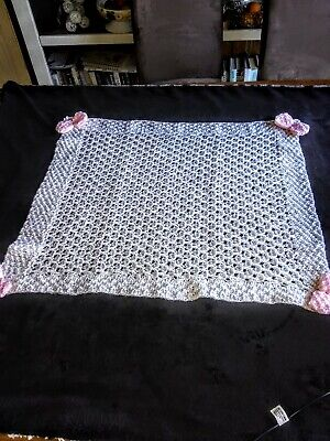 New Hand knitted Baby Girl Blanket 63x48cm. (29)
