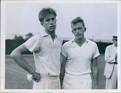 Two Young Men White Polo Shirts On Tennis Court Old Man Ny Sports Photo 6X8