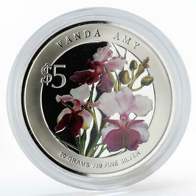 Singapore 5 dollars Flowers Vanda Amy colored silver proof coin 2009