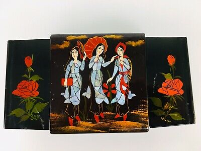 Vintage Japanese Black Lacquered Jewelry Box Mother of Pearl Inlay