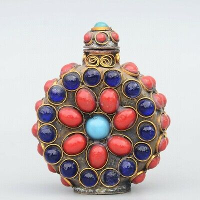 Collectable China Old Bronze Armour Red Turquoise Hand-Carve Unique Snuff Bottle