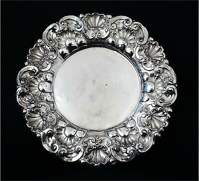 1938´S Sterling Silver Portuguese Plate Tray Shells Ornament Antique