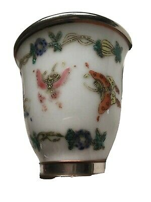 Antique Qing Hand painted Chinese Porcelain Bird Feeder 19th Century Silver Trim