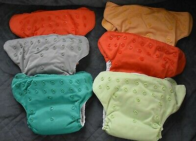 Nice Solid Color's Lot of 6 Bun Genius Diaper Covers with Liners