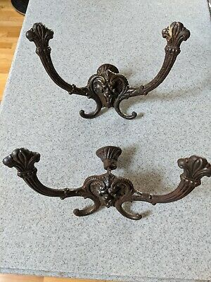 Antique wall mounted coat rack pair (2)