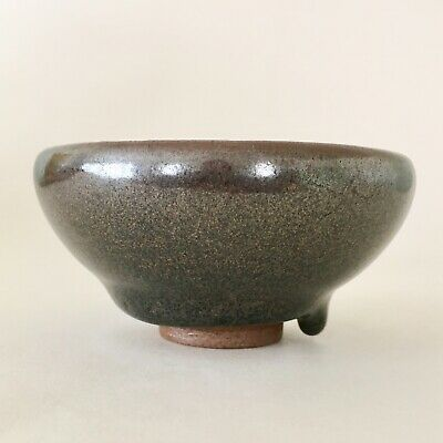 "Japanese? Chinese? Signed ""oil spot"" Temmoku? stoneware small tea bowl"