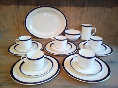 Mismatched Vintage China Tea set 18 pc Cobalt Blue Spode, Tuscan China