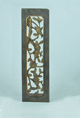 Antique Mid-19th China Century Hand Carved Gold GiltWindows/Doors 3D Wood Panel