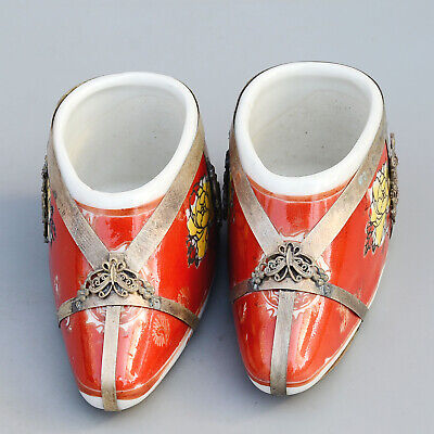 Collect Old Miao Silver Armour Porcelain Hand-Carved Myth Dragon Shoes Statue