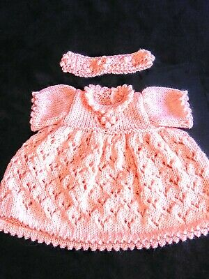 New Hand knitted PREM/Early Baby Peach Dress & Matching Headband