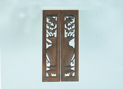 Antique Mid-19th China Century Hand Carved Windows/Doors 3D Wood Panels (2)