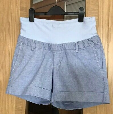 Maternity Shorts Size 12 By H&M Mama Pale Blue Stripes With Soft Rib Band