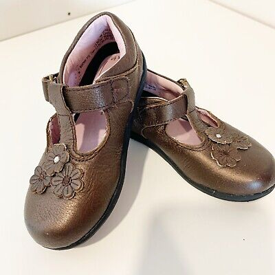STRIDE RITE LINDSAY GIRLS SHOES 9 US//26 EU  WIDE LEATHER NAVY T-STRAP MARY JANES