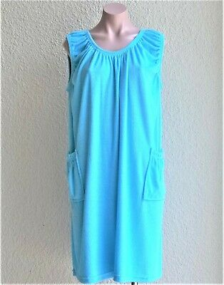 SALE Cotton / Poly Sleeveless Terry Cloth Cover Up w/ 2 Pockets, One Size, NWT
