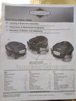 Briggs and Stratton operating and maintenance instructions manual