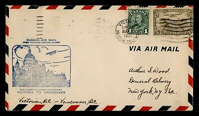 Dr Who 1931 Canada Victoria To Vancouver First Flight Air Mail C175841