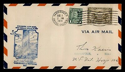 Dr Who 1931 Canada Vancouver To Victoria First Flight Air Mail C175842