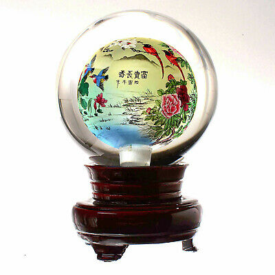 Signed VERY LARGE Chinese Reverse Painted Art Sphere w/Scene of Birds/Flowers