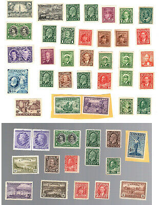 Lot of 48 old Vintage Canada MNG stamps (All Mint No Gum or very close to it)