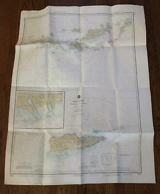 Virgin Islands Nautical Chart Map Vintage LARGE NOAA Soundings Fathoms W Indies