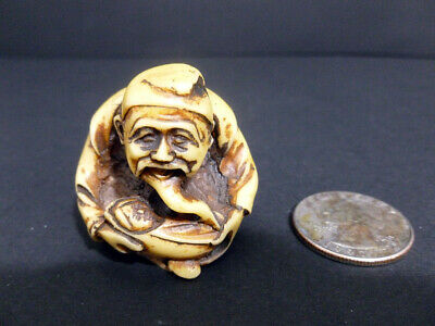 Antique Japanese Art Stone  Old Man Figurine True Old Original Hand Carved 7958
