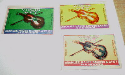3 Very old  diff match box covers from India - Near mint -  Violins