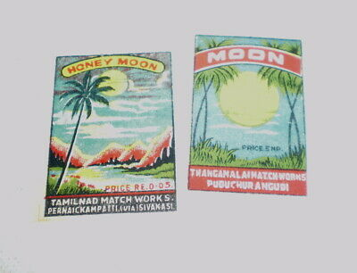 2 Very old  diff match box covers from India - Near mint -  Moon