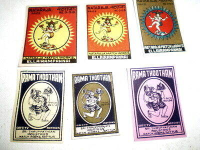6 Very old  diff match box covers from India - Near mint - Ladies?