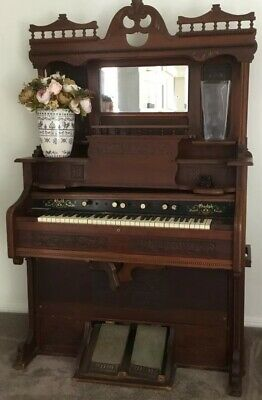 Antique Parlour Pump Organ Made In Canada, Imported In Early To Late 1800's