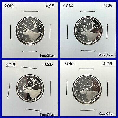 2012 2014 2015 2016 Canada Twenty-Five Cent Silver *Proof* - Frosted/Mirrored
