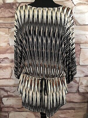 Grace Elements Womens Top Beige/Black Stretch Multi Rouched Casual Size M