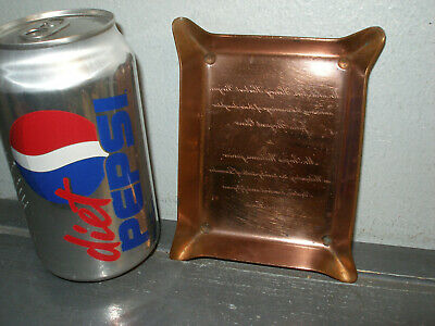 """MID-CENTURY ARTS & CRAFTS 5""""  COPPER TRAY with ENGRAVED INSCRIPTION MIRROR IMAGE"""