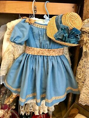 Dress And Straw Hat (bonnet) For Antique  Bisque  Doll .
