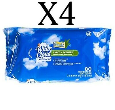 White Cloud Baby Wipes Lightly Scented with Natural Aloe - 80 Ct (4 Pack)