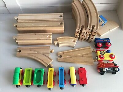 Wooden Train Track Bundle including 46 pieces - track & trains/carriages