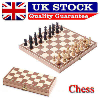 Large Folding Wooden Chess Set Boards Game Checkers Backgammon Draughts Toy UK