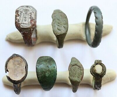 JOB LOT OF 7 AUTHENTIC MEDIEVAL BRONZE RINGS (Lot 6)