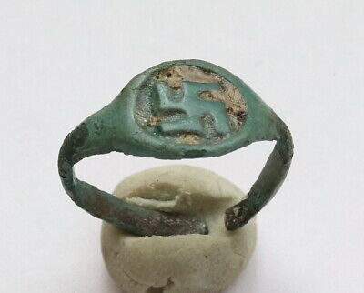 Ancient Viking Bronze FABULOUS STATUS Ring Runic Ornament VERY RARE
