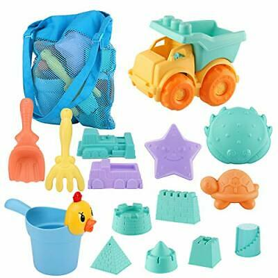 SHANNA Beach Toys for Toddlers, Kids Beach Sand Toy Set with Bucket Castle Molds