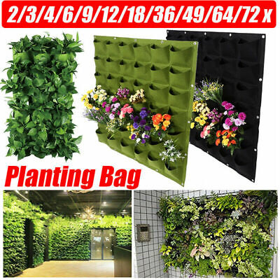 2~72 Pocket Wall Hanging Planting Bag Vertical Flower Grow Pouch Planter Garden