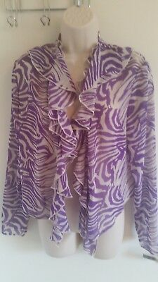 BNWT Marks & Spencer Crop Purple Zebra Print Non Fastening Top (UK 14)