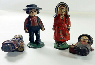 "Vintage Heavy Cast Iron Set of an Amish Family of 4 Figures About 3"" Tall"